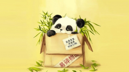 Anime Panda - panda, anime, black, yellow, white