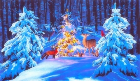 Woodland Glow - Christmas, holidays, glow, Christmas Tree, woods, love four seasons, birds, attractions in dreams, xmas and new year, deer, winter, snow, winter holidays, nature, forests, animals