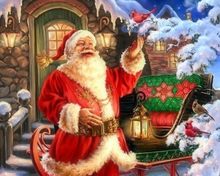 Joyful St. Nick - sleigh, Christmas, holidays, lantern, love four seasons, birds, attractions in dreams, santa claus, xmas and new year, winter, cardinals, snow, winter holidays, forests