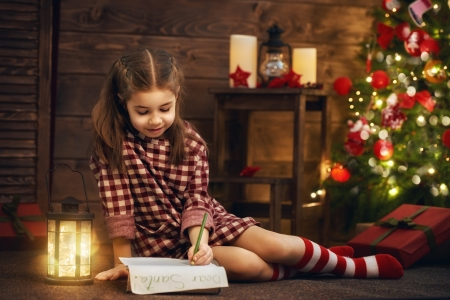 Letter to Santa - candle, lantern, craciun, christmas, tree, girl, copil, child, letter