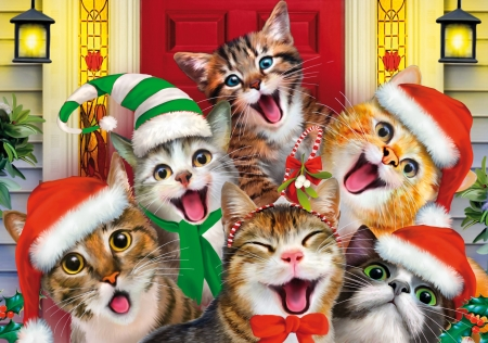 Merry Christmas Cats Animals Background Wallpapers On Desktop Nexus Image 2336486