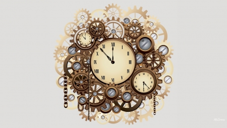 Mechanics of Time - time, chain, mechanical, metal, Daylight Savings Time, science fiction, clocks, New Years, Firefox Persona theme, gears, steampunk