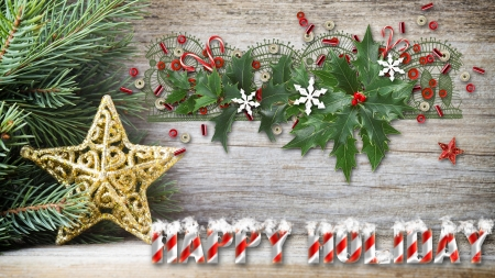Rustic Christmas - rustic, stars, Christmas, candy canes, Feliz Navidad, new years, holly, noel, pine, decorations, wood, celebrate