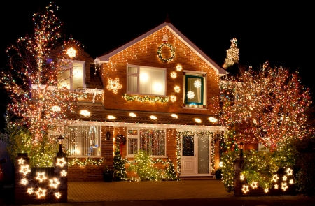 Christmas House - House, Architecture, Christmas, Lights