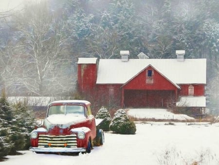 Chevy Country Farm - architecture, Christmas, chevy, love four seasons, farms, attractions in dreams, xmas and new year, winter, cars, snow, chevrolet, winter holidays, truck, classic, pickup, vintage