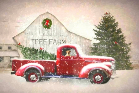 Christmas Tree Shopping - architecture, Christmas, farms, attractions in dreams, xmas and new year, chevrolet, classic, pickup, dog, vintage, Christmas tree, love four seasons, chevy, winter, cars, snow, winter holidays, truck