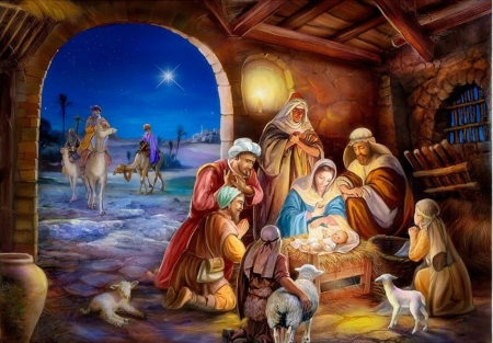 Holy Family - bethlehem, sheep, christmas, people, painting, stable, camels, night