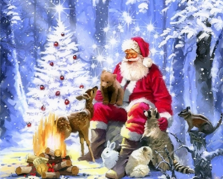 Santa's Campfire - Christmas, holidays, Christmas Tree, love four seasons, campfire, attractions in dreams, santa claus, xmas and new year, winter, paintings, snow, winter holidays, forests, animals