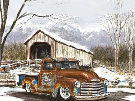 Winter River . . - Chevrolet, snow, covered bridge, trucks, pickup, winter