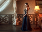 Russian Model in Evening Gown