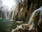 Frost on Waterfalls at Plitvicje National Park, Serbia/Crotia