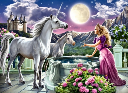 Princess and Her Unicorns - art, equine, beautiful, unicorns, illustration, artwork, fantasy, painting, wide screen