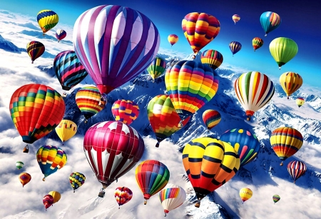 Above the Skies - Balloons - art, flight, beautiful, illustration, artwork, winter, aircraft, snow, balloons, painting, wide screen, scenery, aviation