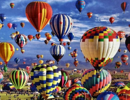 Fun in the Air - Balloons - balloons, art, illustration, flight, aviation, scenery, wide screen, beautiful, aircraft, artwork, painting