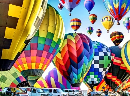 Inflated on the Ground - Balloons - art, flight, beautiful, illustration, artwork, aircraft, balloons, painting, wide screen, scenery, aviation