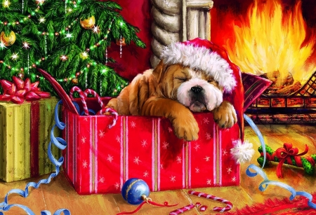 Christmas Snooze - ornaments, fireplace, fire, tree, painting, parcel, chimney, dog