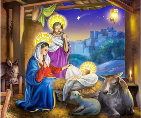 Jesus Birth - stars, donkey, cow, bethlehem, sheep, parents, joseph, painting, stable, mary