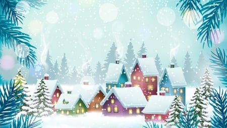 Colorful Winter Village - Christmas, cottages, Feliz Navidad, New Years, houses, home, trees, neighborhood, winter, pine, snow, Firefox Persona theme, blue