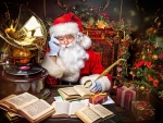 Good old Santa Claus reading books