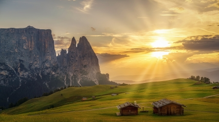 Rays of Light at Sunset - rays, mountains, houses, nature, sunset, sky, lights