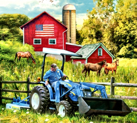 New Holland Field Day F - architecture, planting, art, tractor, equine, beautiful, illustration, artwork, horses, farm, painting, wide screen, scenery, crops, landscape