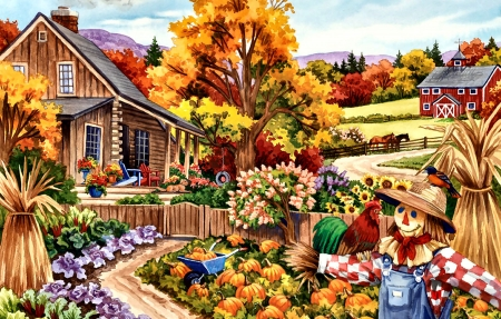 Living in the Country F - architecture, planting, art, beautiful, illustration, artwork, farm, painting, wide screen, scenery, crops, landscape