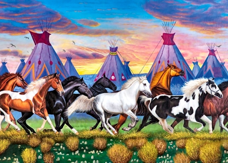 Native American Ponies - art, equine, beautiful, horse, illustration, artwork, animal, painting, wide screen