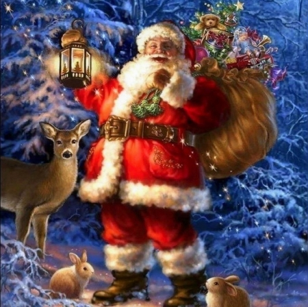 Woodland Santa - Christmas, holidays, lantern, woods, love four seasons, attractions in dreams, santa claus, xmas and new year, deer, winter, paintings, snow, winter holidays, rabbits, forests, gifts