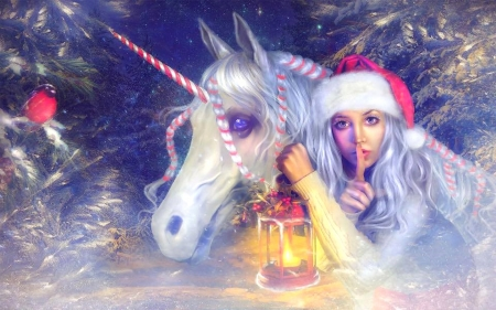 Finding Christmas - holidays, lantern, unicorn, love four seasons, santa girl, creative pre-made, digital art, woman, xmas and new year, winter, fantasy, photomanipulation, snow, wreid things people wear