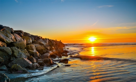 Coastal Sunset - shore, dawn, stones, nature, sunset, coast, sea