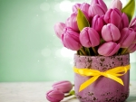 Pink Tulips with Vases