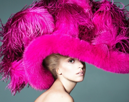 Lady Gaga - girl, lady gaga, feather, woman, singer, pink, hat