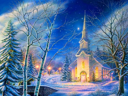 Christmas scene - pretty, art, christmas, holiday, beautiful, church, sky, eve, winter, tree, snow, bridge, painting, scene, light