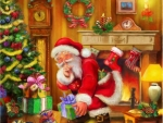 Santa Claus At Fireplace