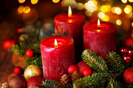 Christmas Candles ♥ - candle, red, glow, christmas, beautiful, light