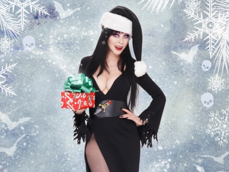 ♥Have a Merry Scary Little Christmas♥ - pretty, Christmas, mistress, Merry, gift, goth, Elvira, actress, dark, Scary