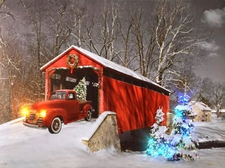 Red Truck of Christmas , Winter \u0026 Nature Background
