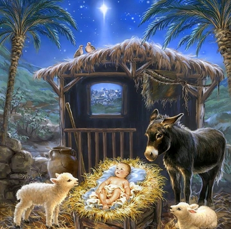 Christmas Stable Background.Born In A Stable Winter Nature Background Wallpapers On