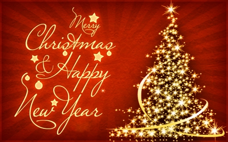 Merry Christmas and Happy New Year - red, holidays, christmas, new, year, winter