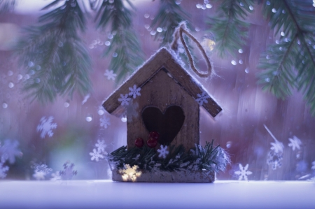 Birdhouse ♥ - cute, snowflake, window, birdhouse, beautiful, winter