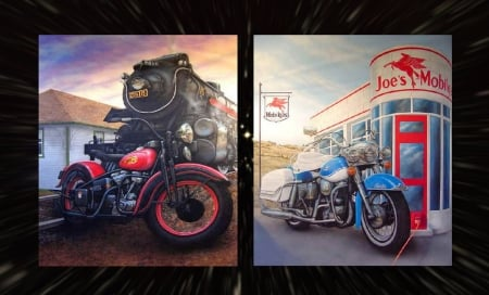 PanHead & Knucklehead - train, motor, davidson, bikes, steam, harley