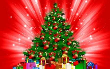 Christmas tree - red, pretty, colorful, christmas, decoration, beautiful, winter, tree, balls, arrangement, presents, photoshop