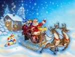 Santa Claus in a sleigh with reindeers