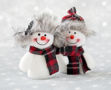 Snowmen - red, craciun, christmas, snowman, winter, hat, card, scarf, white, couple