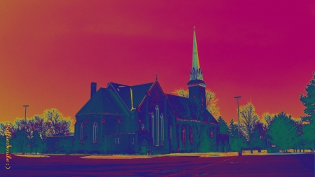 Church at Sunset - cie11, Frankenmuth Michigan, peaceful, deep pink, sunset, church, trees
