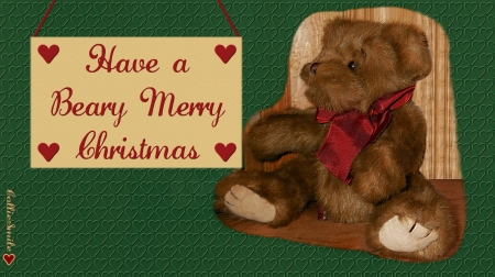 Christmas Teddy Bear - Christmas, Red, Merry Christmas, teddy, bear, noe1, Green, plush animal, teddy bear