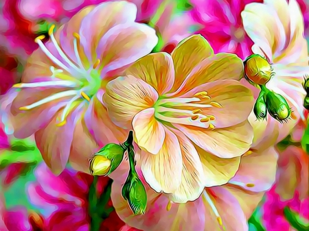 FUNKY FLOWERS - PRETTY, FUNKY, FLOWERS, ABSTRACT