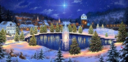 Christmas Town.Christmas Town Winter Nature Background Wallpapers On