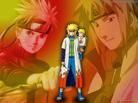 yondaime with child naruto - anime, naruto