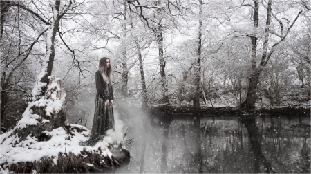winter river - lady, woman, snow, winter